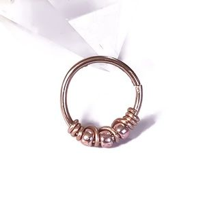 Rose Gold Pink Bead Nose Ring Cartilage Earring